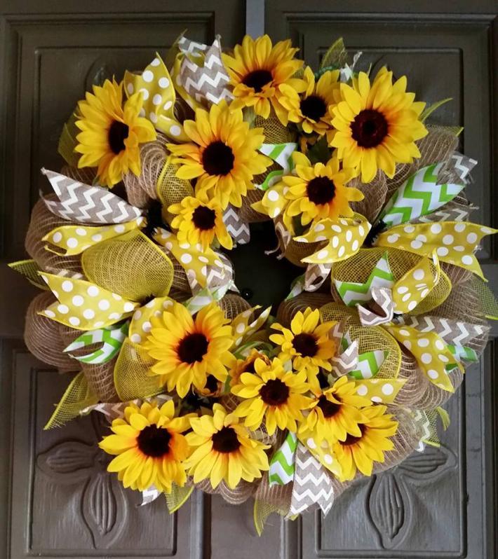 Sunflower deco mesh wreath