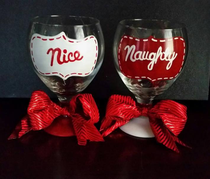 Hand painted Naughty and Nice Christmas wine glasses set