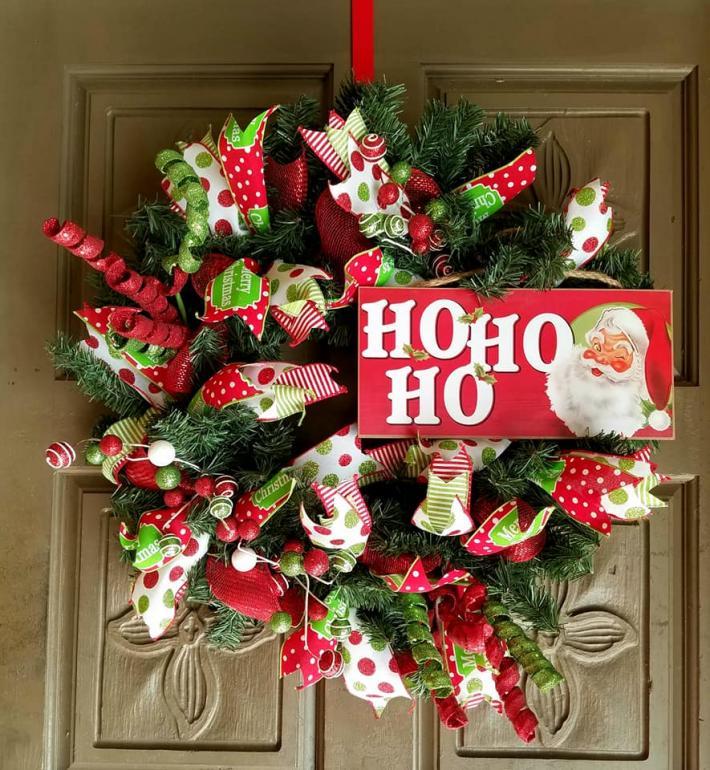 Christmas Santa Claus deco mesh wreath