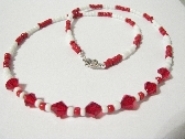 Red and White Necklace and Earrings