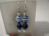 Blue Beads and Swirl Earrings