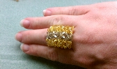 Gold and Grey Crystal Beaded Ring