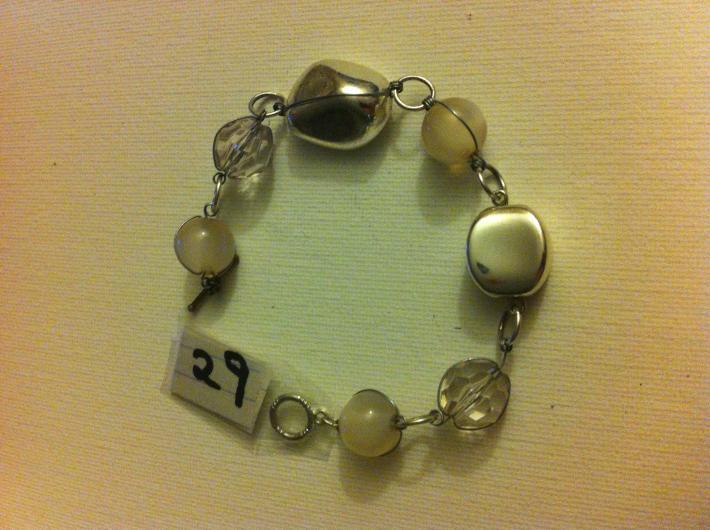 silver and cream bracelet