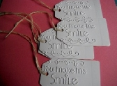 5 White embossed Gift tags