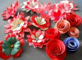 Red paper dotty flower embellishments