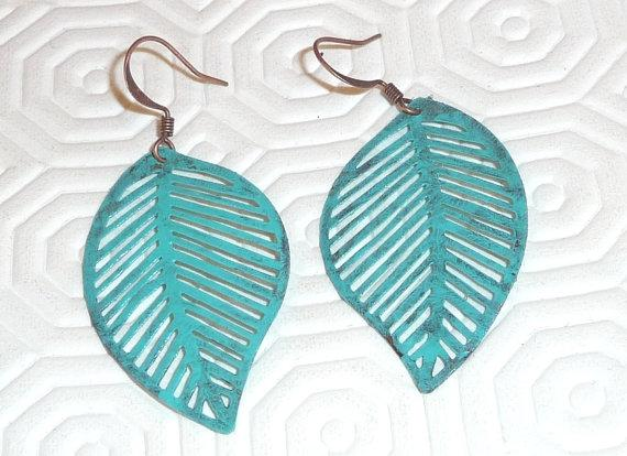 Verdigris earrings Copper lace teal mint hippie