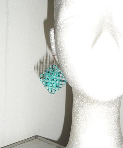 Verdigris earrings Copper lace filigree green blue baby blue teal round hoops pattern turquoise copper