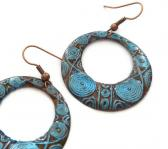 Copper earrings blue mint round hoops pattern oxidised patinated donut