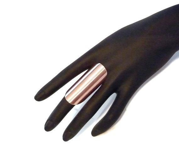 Knuckle Ring Armor Shield Wide Long Boho Hippie Goth Minimalist fine copper