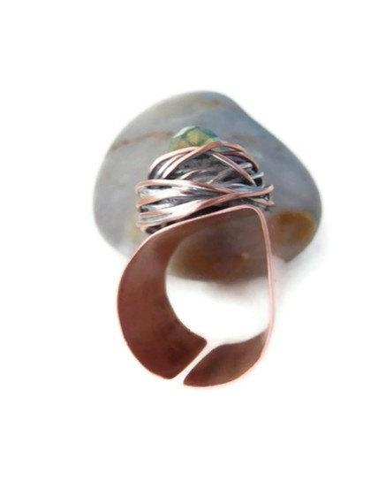 Roof copper ring swarovski green wide knuckle shield armor warrior crystal handmade