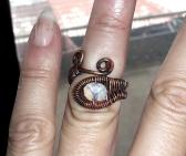 Copper ring wire wrapped moonstone rough oxidised patinated black boho hippie rustic
