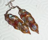 Copper earrings leaf fired rainbow multicolor boho bohemian hippie rustic blue purple red green