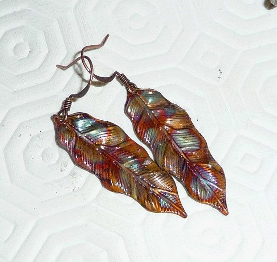 Copper earrings leaf fired rainbow multicolor boho bohemian hippie rustic blue purple red green