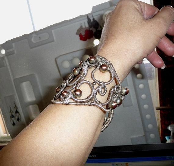 Bracelet wire wrapped wire work mix metals copper silver plated beaded statement wide boho hippie warrior armor shield