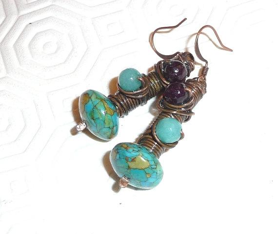 Tangled earrings Copper Silver Oxidised Patinated teal Turquoise boho hippie tribe Brazilian Aquamarine Russian Purple Amethyst Tibet Turquoise
