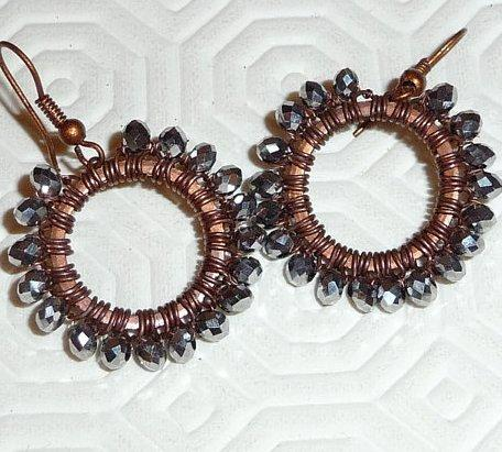 Copper earings oxidised patinated black wire wrapped silver swarovski crystal hoops beaded circle spring boho hippie urban nomad tribe rustic hoops circle