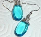 Tangled earrings silver filled turquoise blue  drop glass hippie