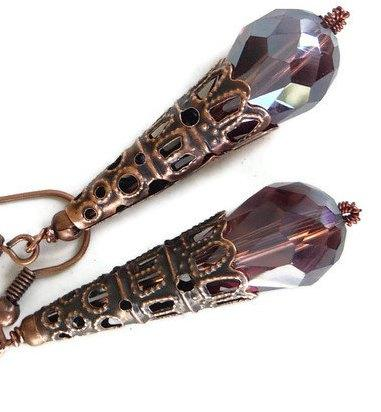 Copper beaded crystal earrings brown burgundy turquoise spring cone