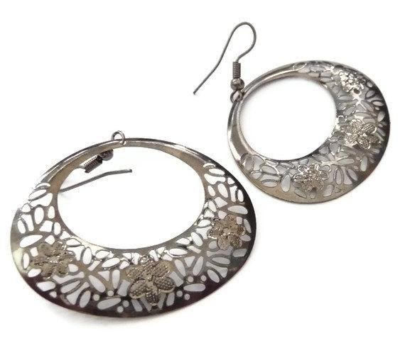 Lace earrings oval donut gunmetal grey oxidised patinated hippie hoops elegant art deco floral