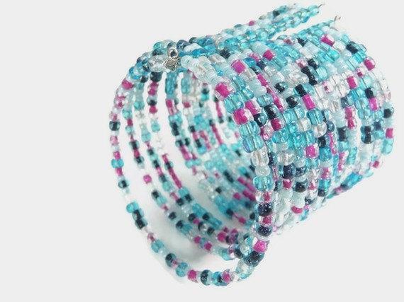 Wide bangle cuff bracelet beaded armor shield glass baby blue navy blue pink white mint multicolor multistrand boho hippie
