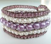Bracelet wrapped cord purple white pastel wide hippie