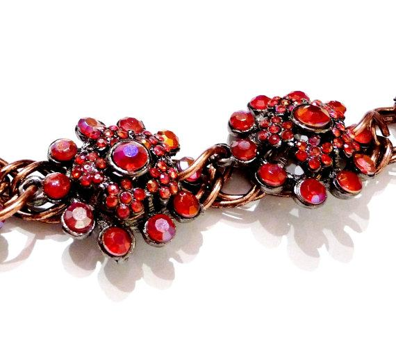 Copper bracelet vintage elements flower floral red fire