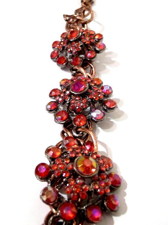 Copper bracelet vintage elements flower floral red fire