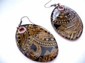 Earrings copper polymer abstract lace brown photo transfer