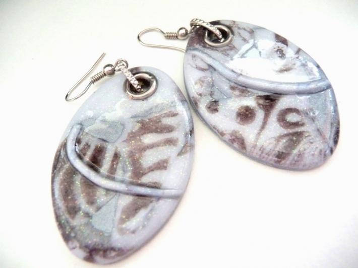 Tribal earrings pale blue artisan modernist