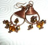 Copper earrings oxidised patinated Beaded Wire wrapped swarovski crystal gold brown copper earrings