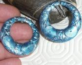 Earrings silver plated blue mint ethnic pattern donut circle hoops