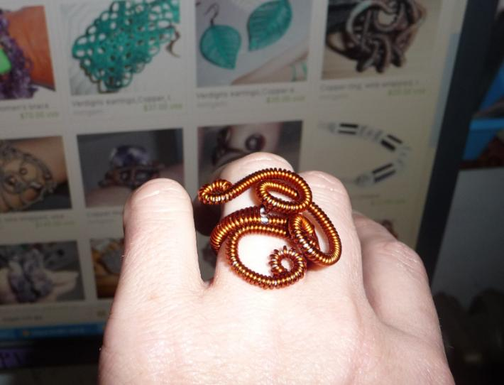 Ring copper plated enameled wire wrapped adjustable wire work statement boho hippie modernist artisan