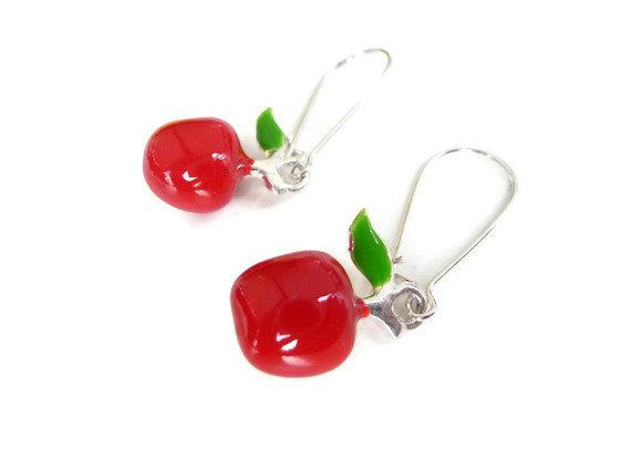 Apple earrings silver plated enameled red fruit jewelry