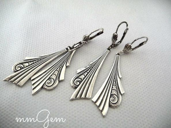 Boho Earrings native ethnic dangle antique silver silver plated oxidized antiqued art deco bohemian native tribal
