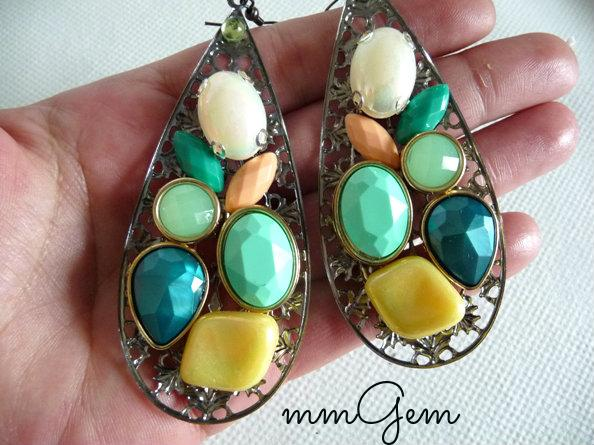 Multicolor Statement earrings oversized earrings big teardrop teal mint yellow white orange sea foam celebrity inspired dangle