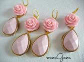 Statement earrings oversized earrings big flower teardrop rose pink pastel pink celebrity inspired dangle romantic gold princess