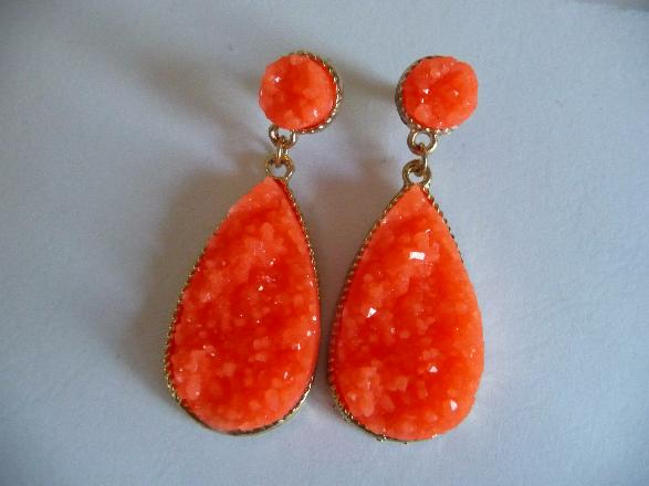Druzy Earrings Neon earrings Orange earrings post dangle post dangle earrings