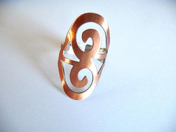 Boho Ring Bohemian ring Knuckle ring long ring long knuckle ring shield ring armor ring copper knuckle ring rose gold ring long