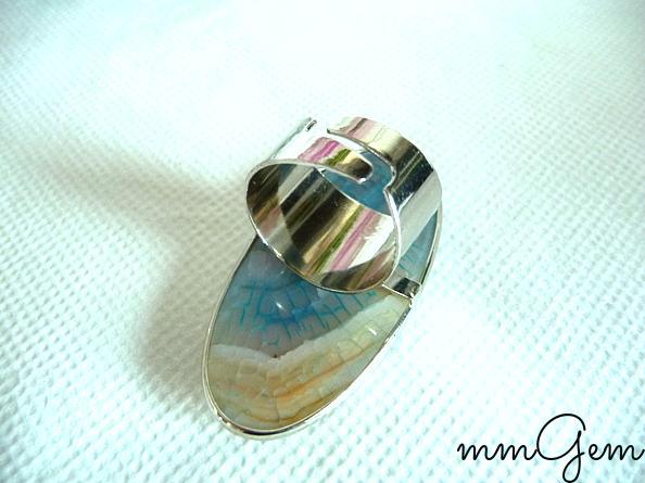 Big boho gemstone ring boho agate ring