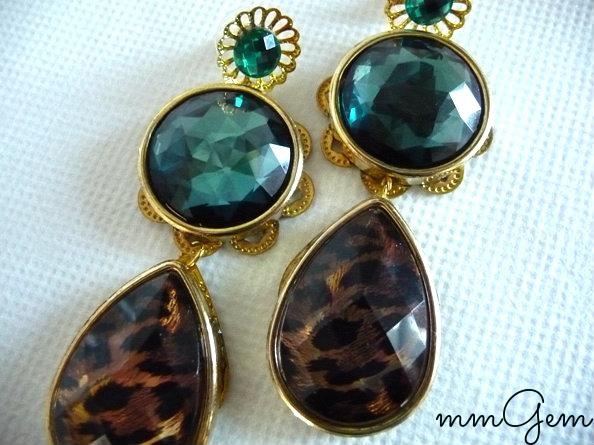 Emerald earring Multicolor Statement earrings Tortoise earrigns post dangle earrings green oversized teardrop celebrity inspired