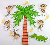 Five Little Monkeys Swinging from a Tree Felt Board Activty Set