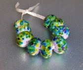 Handmade Glass Blue and Green Beads Spring Time Gardens Collection