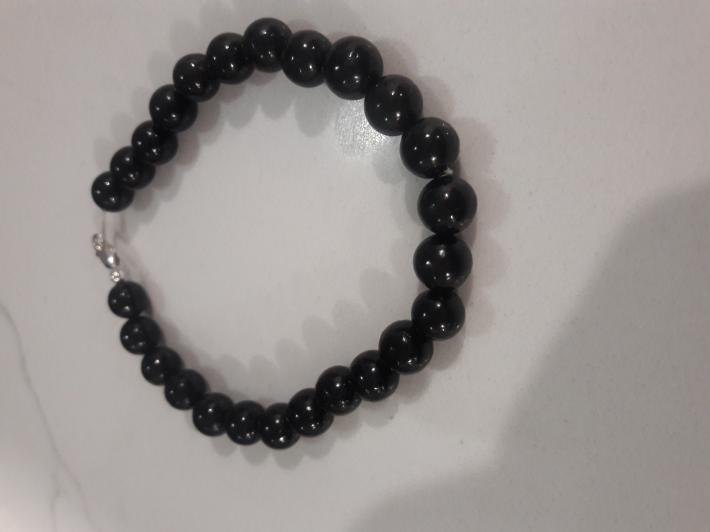 Black jet and Sterling Silver Bracelet