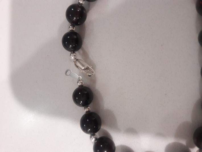 Black tourmaline and Sterling silver bracelet