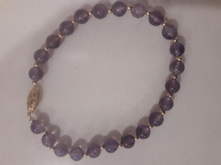 Amethyst and 14k solid gold bracelet
