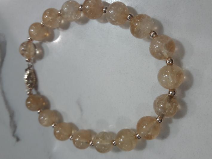 Citrine and 14k solid gold bracelet
