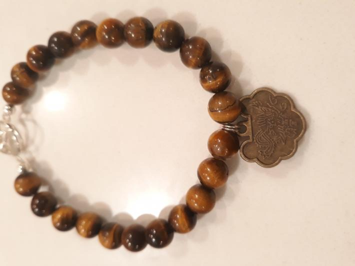 Tiger eye and Sterling Silver Bracelet