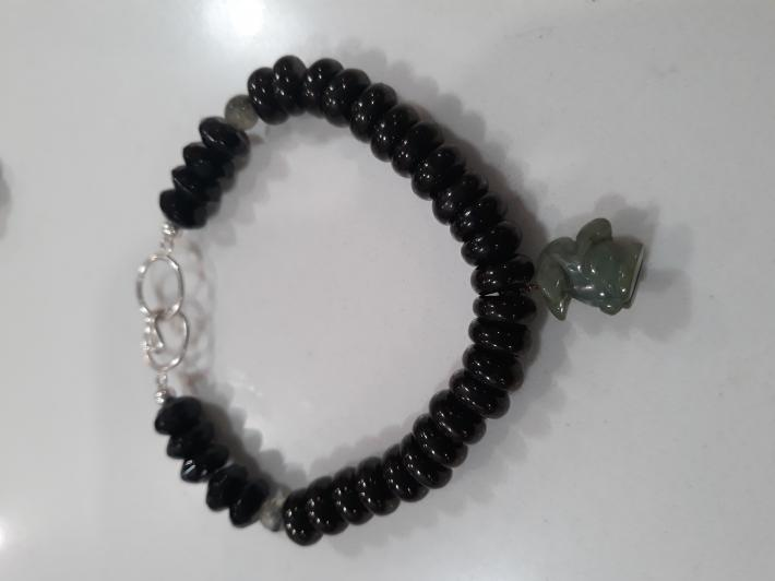 Jet and jade and Sterling Silver Bracelet