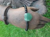 Black tourmaline jade and Sterling Silver Bracelet