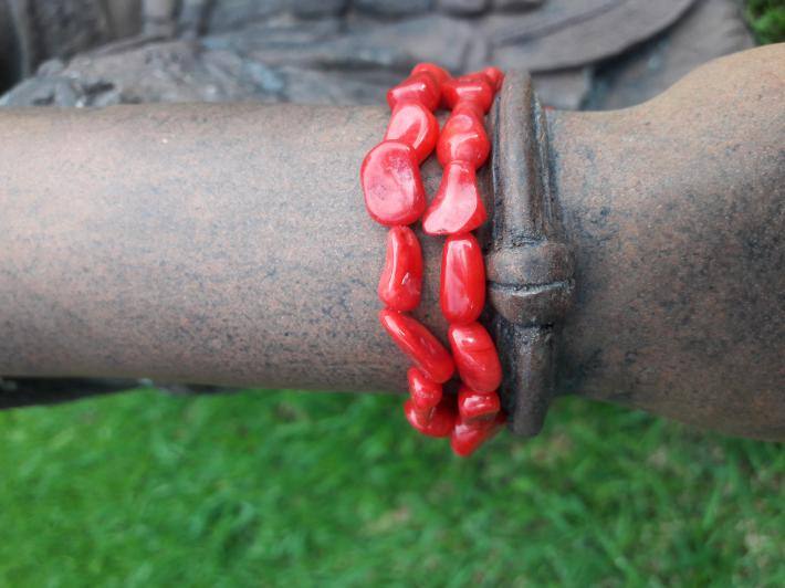 Red coral and Sterling Silver Bracelet